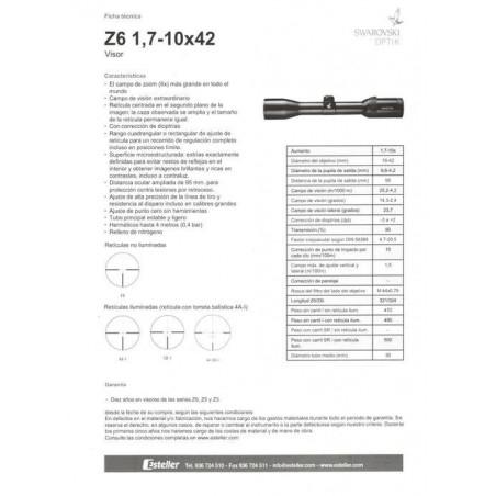 COMPRAR OPTICA ESTELLER VISOR SWAROSKY Z6 1,7-10 x 42